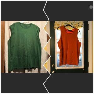 👕Rust and Green color sleeveless tee👕